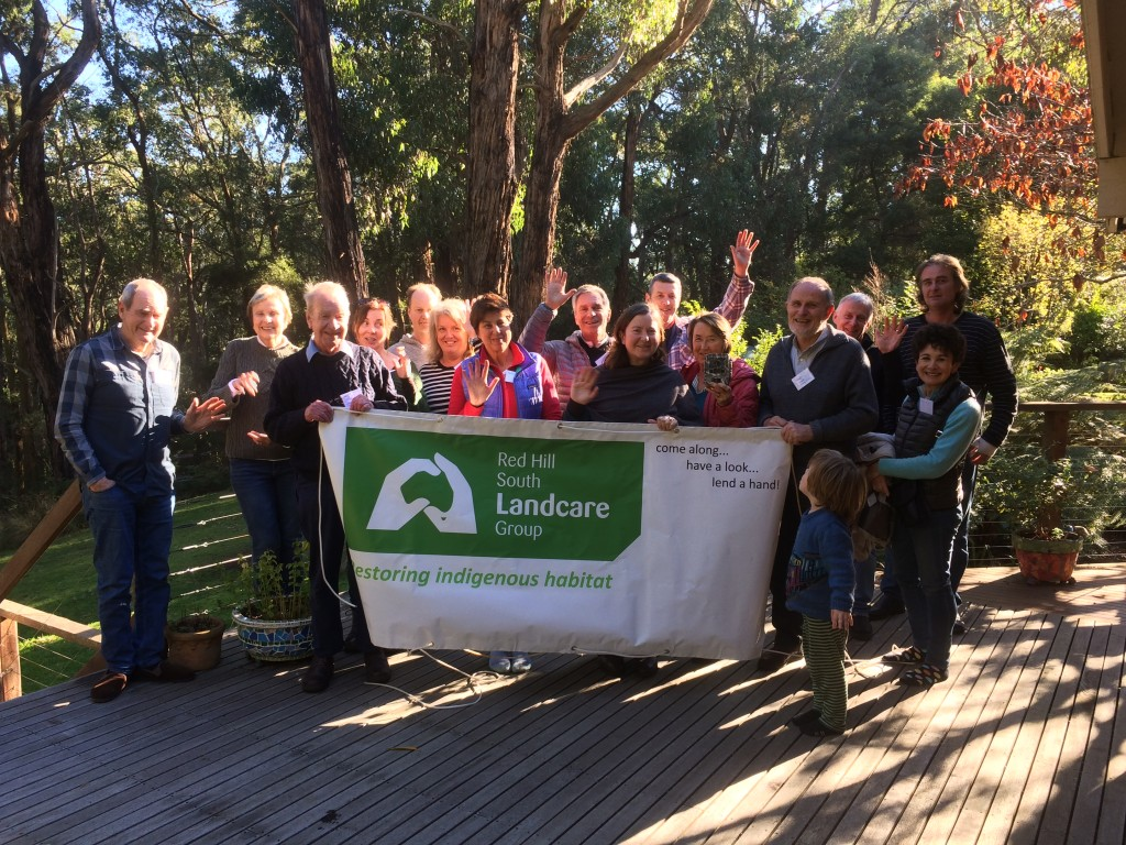 Members of the Red Hill South Landcare Group celebrating their biolink achievements and hard work